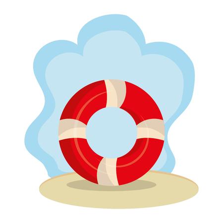 beach landscape with float lifeguard vector illustration design Illustration
