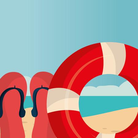 beach landscape with float lifeguard vector illustration design 일러스트