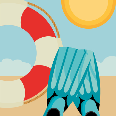 beach landscape with float lifeguard vector illustration design  イラスト・ベクター素材