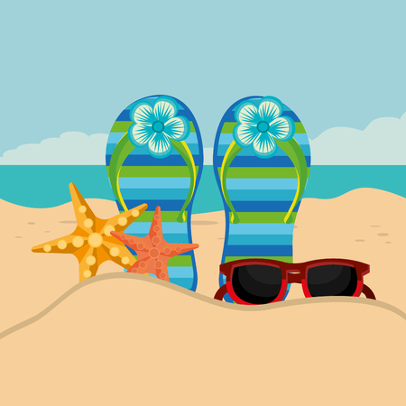 Paisaje de playa con chanclas, diseño de ilustraciones vectoriales de escena