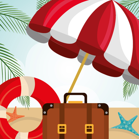 beach landscape with suitcase and set icons vector illustration design