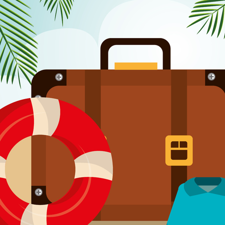 beach landscape with suitcase and set icons vector illustration design Vector Illustratie