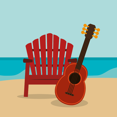 beach landscape with guitar vector illustration design Foto de archivo - 109739088