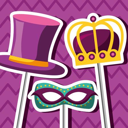 party mask night blanket crown hat sticks vector illustration Illustration