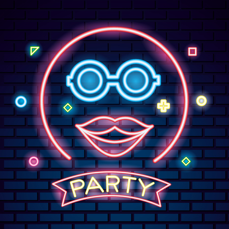 party mask night glasses mouth neon circle symbols background vector illustration