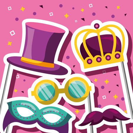 party mask night crown king glasses blanket hat and moustache sticks symbols background vector illustration