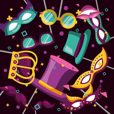 party mask night selfie sticks crown hat blankets moustache symbols vector illustration