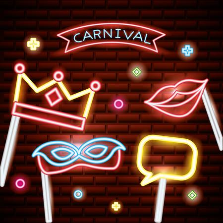 party mask night red ribbon carnival sticks photo vector illustration