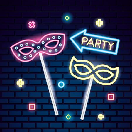 party mask night blankets mistery neon vector illustration