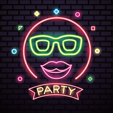 party mask night neon mouth and glasses symbols background vector illustration