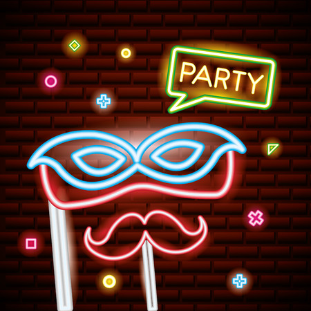 party mask night bubble sign neon sticks photos vector illustration
