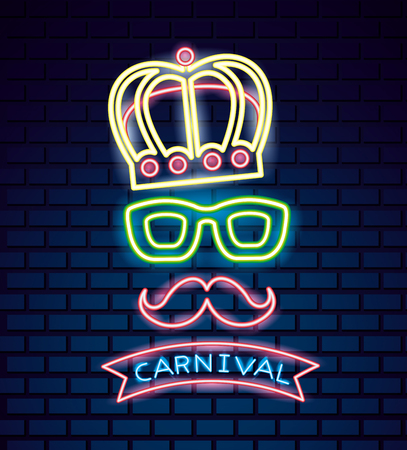 party mask night carnival neon ribbon glasses crown vector illustration