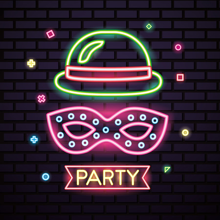 party mask night pink blanket mistery hat neon symbols vector illustration