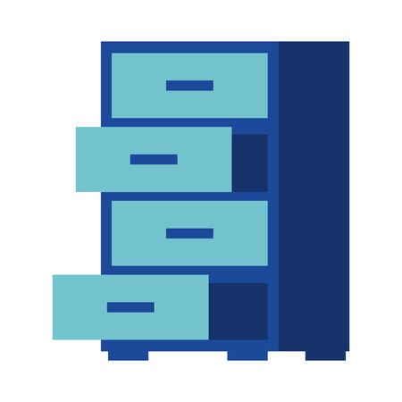 office cabinet furniture organizer open drawers vector illustration Ilustração
