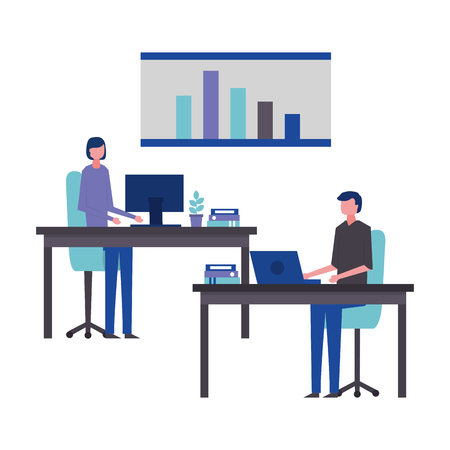business man and woman office working in the laptop vector illustration Stok Fotoğraf - 109719915