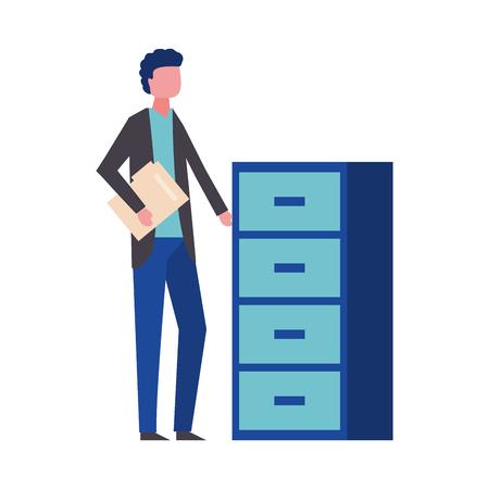 man holding folder office cabinet drawers vector illustration Archivio Fotografico - 109719916