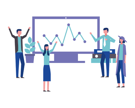business teamwork people office computer statistics report vector illustration