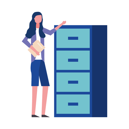 woman holding folder office cabinet drawers vector illustration