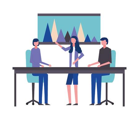 business man and women office meeting board diagram vector illustration Stock Illustratie