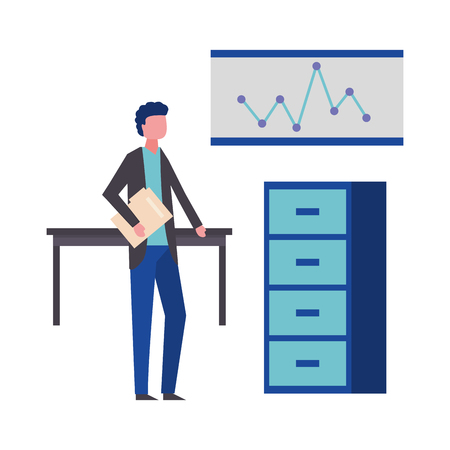 businessman with folder desk cabinet and board vector illustration
