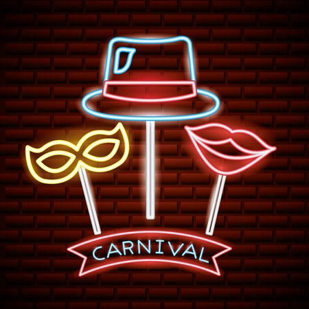 party mask night carnival neon sticks selfie photos vector illustration Standard-Bild - 109719935
