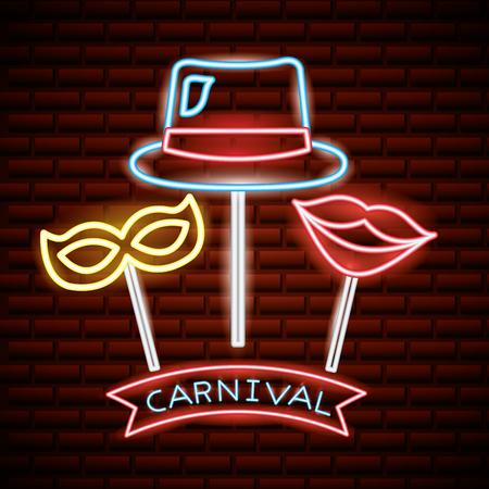 party mask night carnival neon sticks selfie photos vector illustration Illustration