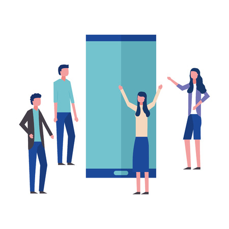 business man and woman office smartphone vector illustration