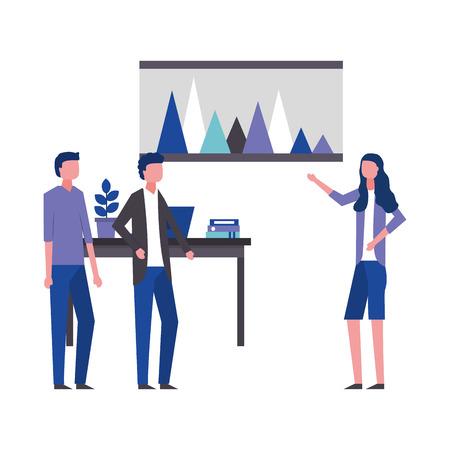 Geschäftsfrau, die Berichtsbüroarbeitsplatzvektorillustration zeigt