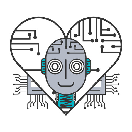 robot artificial intelligence heart circuit board vector illustration Çizim