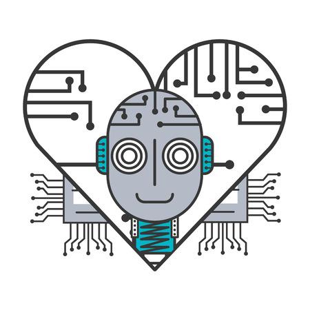 robot artificial intelligence heart circuit board vector illustration Illustration