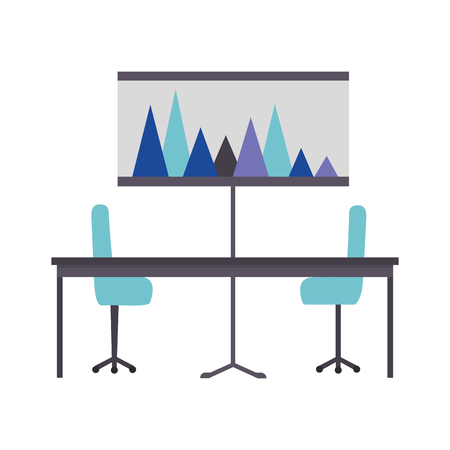 office table chairs and presentation board report vector illustration