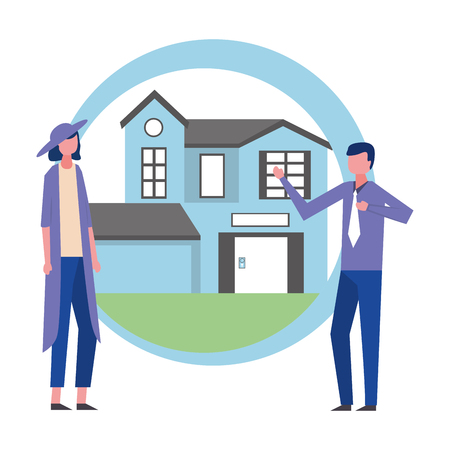 man and woman house real estate business vector illustration Çizim