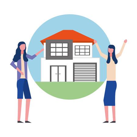 women house real estate business vector illustration