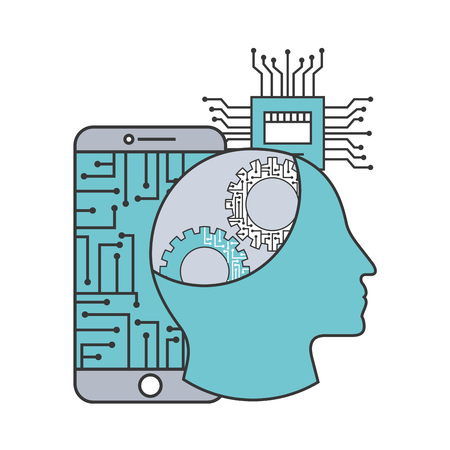 artificial intelligence smartphone human profile motherboard circuit vector illustration