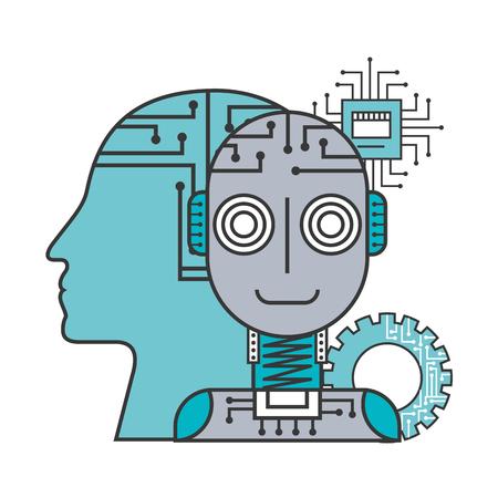 Robot inteligencia artificial perfil humano humano mecánico ilustración vectorial