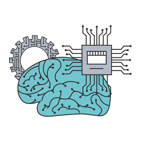 artificial intelligence brain motherboard circuit gear vector illustration