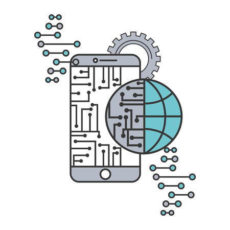 artificial intelligence smartphone circuit world connection vector illustration