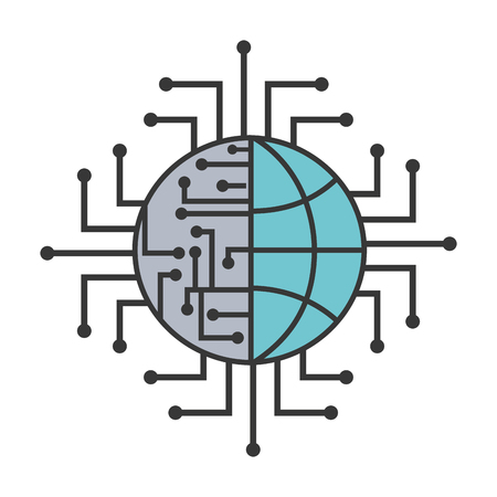 artificial intelligence world connection digital vector illustration