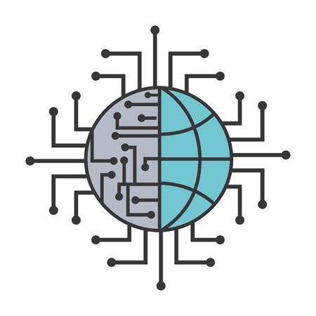 artificial intelligence world connection digital vector illustration