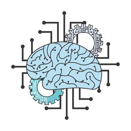 artificial intelligence breain gears circuits innovation vector illustration