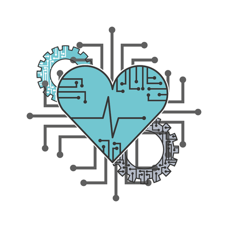 artificial intelligence heart health gear circuit technology vector illustration 일러스트