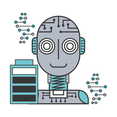 robot artificial intelligence battery charge digital technology vector illustration