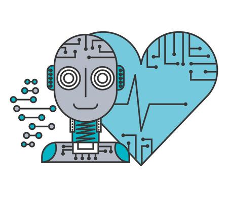 robot artificial intelligence heart health medical vector illustration