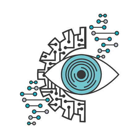 artificial intelligence surveillance eye visual gear vector illustration