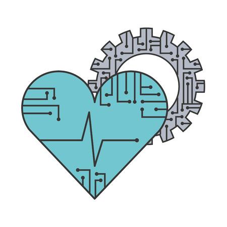 artificial intelligence heart health medical gear vector illustration