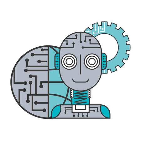 robot artificial intelligence world connection gear vector illustration