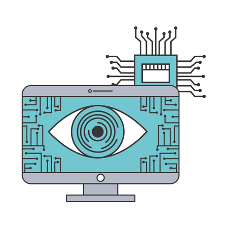 artificial intelligence computer surveillance circuit board vector illustration