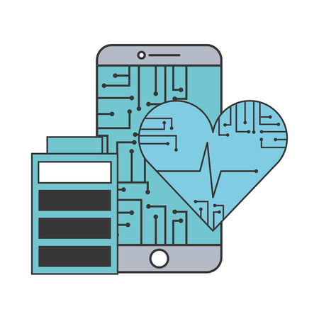 artificial intelligence heart health battery charged vector illustration