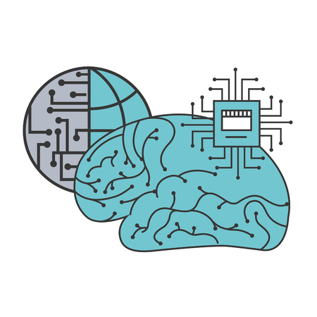 artificial intelligence brain world motherboard circuit vector illustration