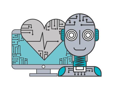 robot artificial intelligence computer healthcare medical vector illustration Ilustração